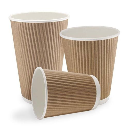 8oz Brown Ripple Coffee Cups With Lids